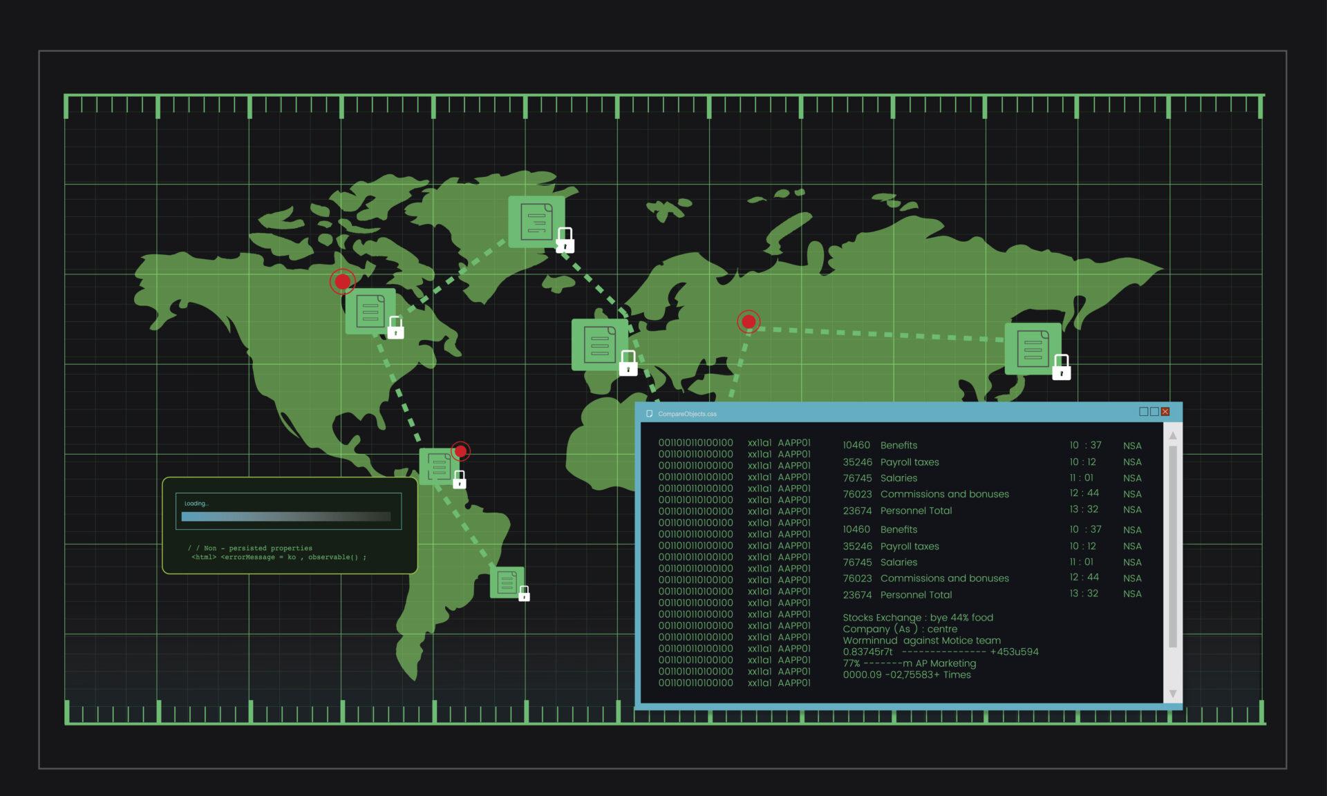 Illustration of computer hacking code